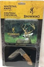 """Browning Whitetail Limited Edition 3"""" Knife Gift Set / Tin Burl Wood Handle NEW"""