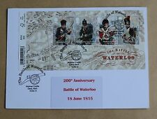 BATTLE OF WATERLOO 200TH ANNIVERSARY M/S 2015 FIRST DAY CARD WALMER CASTLE H/S