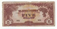 THE JAPANESE GOVERNMENT FIVE DOLLAR WWII BANKNOTE Invasion Money K-653