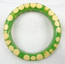 Vtg Green & Cream Random Polka Dot Gumdrop Bakelite Bangle Bracelet Book Piece