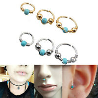 Fashion Stainless Steel Nose Ring Turquoise Nostril Hoop Nose Earring Piercing*1