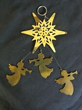 VINTAGE ANGEL CHIME Ornament Trio Horns Star Top Gold Metal Christmas