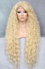 Human Hair Blend Full Lace Front Wig  Wavy Pale Blonde Heat OK WBSM 613