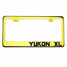 Gold Chrome License Plate Frame YUKON XL Laser Engraved Metal Screw Cap