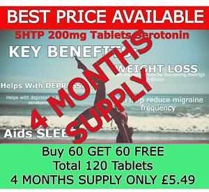 5HTP 200mg - 120 x Tablets✔️ SEROTONIN Stress, Depression, Sleep Aid WEIGHT Loss