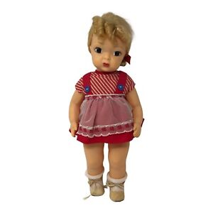 """Vintage Terri Lee Doll Blond 16"""" Doll Red and White Dress"""