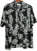 NWT Mens Silk Hawaiian Camp Shirt Casual Floral Beach Black White L XL XXL XXXL