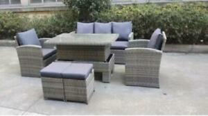 Rattan set dining table outdoor furniture garden with footstool grey.