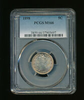 """1898 Liberty Nickel V-Nickel 5C PCGS MS 66 Type 2, With """"CENTS"""" RARE HIGH GRADE"""