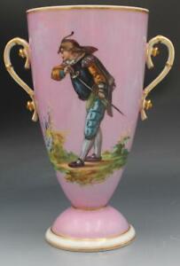 19C French Old Paris Porcelain Handled Portrait Vase Pompadour Pink w/ Musketeer