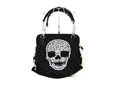 Wommen's Black & Clear Rhinestone Crystal Skull Tall Zippered Handbag Purse