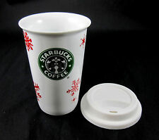 Starbucks Coffee Travel Mug Winter Christmas Holiday Red Snow Flakes 2010 Logo
