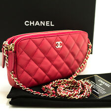 1332e04a7321 L56 CHANEL Authentic Red Wallet On Chain WOC Double Zip Chain Shoulder Bag