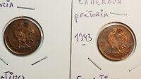 2 Monnaies de 50 CENTIMES 1943 AFRIQUE EQUATORIALE FRANÇAISE - PRETORIA -