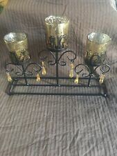 Live Love Laugh Candle Holder Gold Mercury Glass Black Iron Plastic Crystals
