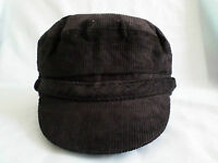 GENTS BNWT CORD BRETON SAILING CAP MARINER STYLE BARGE HAT BLACK OR BROWN