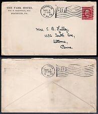 The Park Hotel 1909 – Franklin, Pennsylvania APMC Flag Cancel & Altoona, PA Flag