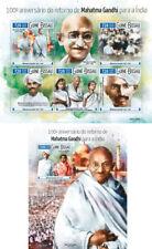 Mahatma Gandhi Nobel Prize Politics Guinea-Bissau MNH stamp set