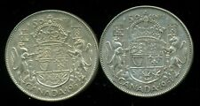 1951 and 1952 Canada 50 Cent Pieces with Die Clash, King George VI
