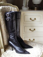 Christian Dior Boots Black Leather Silver Buckle