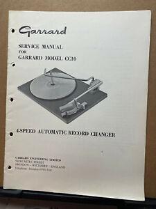 Original Service Manual for Garrard Model CC10 5-300 Turntables ~ Operating