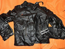 A. Byer Black Coat Faux Leather Detail; Medium motorcycle look with zippers