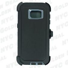 For Samsung Galaxy S7 Edge Defender Case (Belt Clip Fits Otterbox) Black Gray