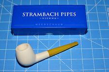 Straight APPLE Amber Stem Premium MEERSCHAUM pipe by STRAMBACH Austria (bauer)