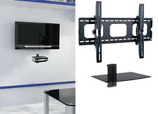 "Flat Tilting Tv Wall Mount With Single Dvd Shelf for 55 60 65 70 75"" 80"" 85"" tv"