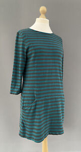 Seasalt Stripe Tunic Dress Blue/Green Grey Cotton Pockets Smock Sail Trim UK 14