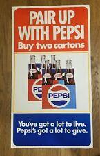 Vintage 1969 Original Pepsi Poster Pair Up with Pepsi