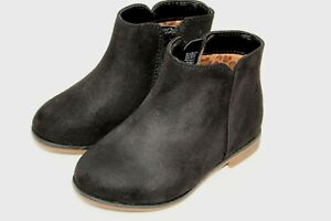 NWT Cat & Jack Girls Shoes Matte Black Ankle Boots Toddler Size 7