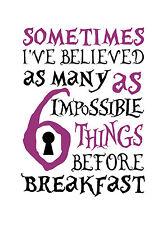 "Alice in Wonderland ""Sometimes"" Typography Decorative Vinyl Wall Sticker"