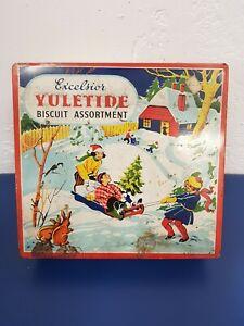 Excelsior Yuletide Biscuit Assortment-Vintage Tin-Christmas/Advertising/Santa