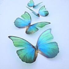 Decoraciones de Mariposa 4 Natural Azul & Verde 3D Flying Mariposas extraíble