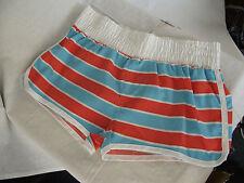 BNWT Girls Sz 12 Rivers Doghouse Brand Aqua/Orange Stripe Swim Board Shorts