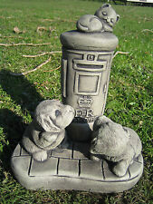cat and dog with post box stone garden ornament