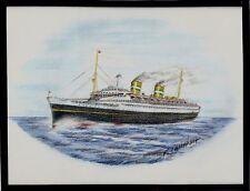 Original Art Work ..ss NIEUW AMSTERDAM..(2).ocean liner.. Holland America Line