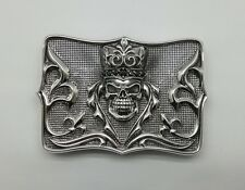 925 Sterling Silver Solid Skull Crown Gothic Priest Onyx Stone Belt Buckle Biker