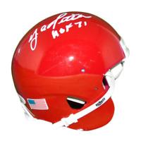 Y.A. Tittle Signed HOF '71 in White Riddell Red Mini Helmet (JSA)