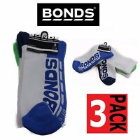 MENS BONDS 3 PACK CREW  SPORTS GYM SOCK SOCKS WHITE BLUE GREEN NAVY SIZE 6-10