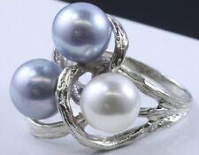 Designer Pearl Akoya Gray and Rose' Ring 14K White Gold Size 4 3/4 WHOLESALE