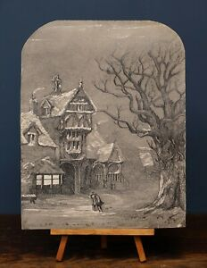 A Snowy Winter Scene | Well Executed 1856 Antique Pencil Drawing, Signed