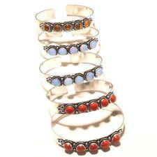 Gemstone Bracelet Cuff Fashion Jewelry Wholesale Lot Silver Plated Opal Mix