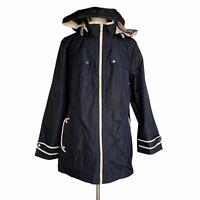 SUSAN GRAVER Women's Plus Size 2X Black Almond Contrast Trim Zip Hooded Jacket