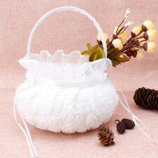 Weiß Stickerei Rose Blumenkorb Blumenmädchen Korb Hochzeit Party Versorgung Deko