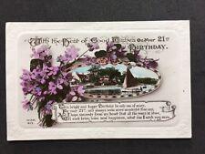 Vintage Postcard: 21st Birthday Greetings Card: #AA202: W & K Real Photo