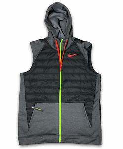 Nike Men's Full Zip Hooded Vest Winterized Size Large Black Grey BV4534-032