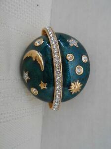 SWAROVSKI Swan Signed Cobalt Blue Enamel Moon & Stars Gold Tone Brooch Pin