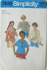 Simplicity 7933 Vintage Teens Pullover Tops Sewing Pattern Sz 5/6 Bust 28 FF